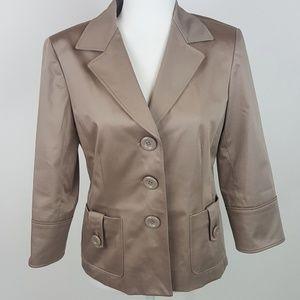 Lafayette 148 Cotton Sateen Blazer Jacket 6 Tan